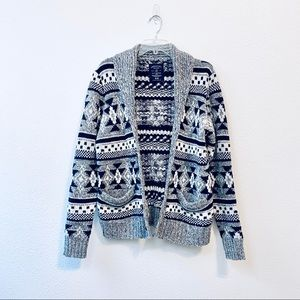 American Eagle Chunky Knit Cardigan Aztec Gray M